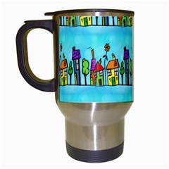 Colourful Street A Completely Seamless Tile Able Design Travel Mugs (White)