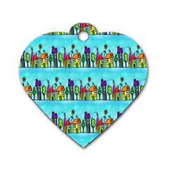 Colourful Street A Completely Seamless Tile Able Design Dog Tag Heart (two Sides)