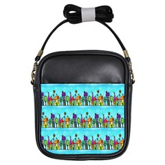 Colourful Street A Completely Seamless Tile Able Design Girls Sling Bags