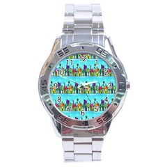 Colourful Street A Completely Seamless Tile Able Design Stainless Steel Analogue Watch