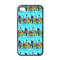 Colourful Street A Completely Seamless Tile Able Design Apple iPhone 4 Case (Black)