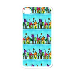 Colourful Street A Completely Seamless Tile Able Design Apple iPhone 4 Case (White)