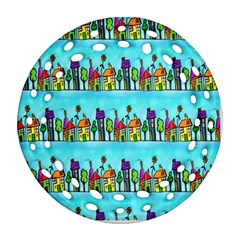 Colourful Street A Completely Seamless Tile Able Design Ornament (round Filigree)