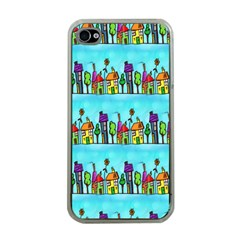 Colourful Street A Completely Seamless Tile Able Design Apple iPhone 4 Case (Clear)