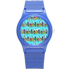 Colourful Street A Completely Seamless Tile Able Design Round Plastic Sport Watch (S)