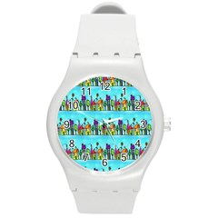Colourful Street A Completely Seamless Tile Able Design Round Plastic Sport Watch (m)