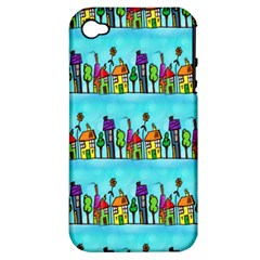 Colourful Street A Completely Seamless Tile Able Design Apple iPhone 4/4S Hardshell Case (PC+Silicone)