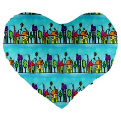 Colourful Street A Completely Seamless Tile Able Design Large 19  Premium Heart Shape Cushions