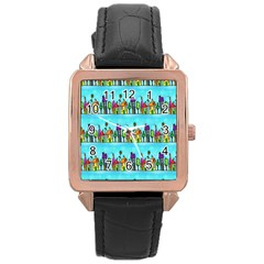 Colourful Street A Completely Seamless Tile Able Design Rose Gold Leather Watch