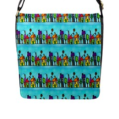 Colourful Street A Completely Seamless Tile Able Design Flap Messenger Bag (l)