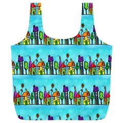 Colourful Street A Completely Seamless Tile Able Design Full Print Recycle Bags (l)