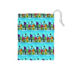 Colourful Street A Completely Seamless Tile Able Design Drawstring Pouches (Medium)