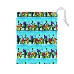 Colourful Street A Completely Seamless Tile Able Design Drawstring Pouches (large)