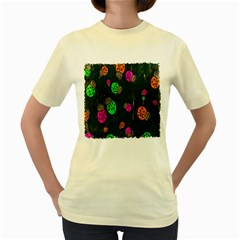 Cartoon Grunge Beetle Wallpaper Background Women s Yellow T Shirt