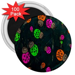 Cartoon Grunge Beetle Wallpaper Background 3  Magnets (100 Pack)