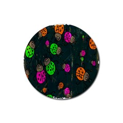 Cartoon Grunge Beetle Wallpaper Background Rubber Coaster (round)