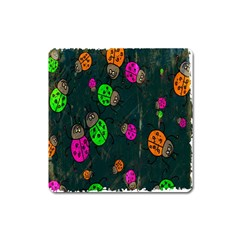 Cartoon Grunge Beetle Wallpaper Background Square Magnet