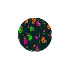 Cartoon Grunge Beetle Wallpaper Background Golf Ball Marker (4 pack)
