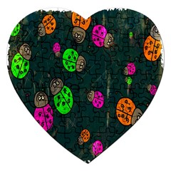Cartoon Grunge Beetle Wallpaper Background Jigsaw Puzzle (heart)