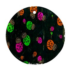 Cartoon Grunge Beetle Wallpaper Background Round Ornament (two Sides)