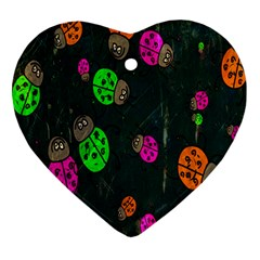 Cartoon Grunge Beetle Wallpaper Background Heart Ornament (two Sides)
