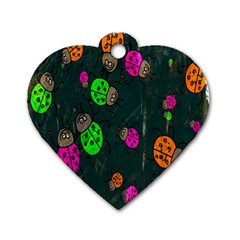 Cartoon Grunge Beetle Wallpaper Background Dog Tag Heart (Two Sides)