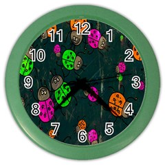 Cartoon Grunge Beetle Wallpaper Background Color Wall Clocks