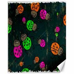 Cartoon Grunge Beetle Wallpaper Background Canvas 11  X 14
