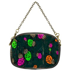 Cartoon Grunge Beetle Wallpaper Background Chain Purses (Two Sides)