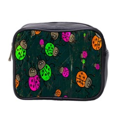 Cartoon Grunge Beetle Wallpaper Background Mini Toiletries Bag 2 Side