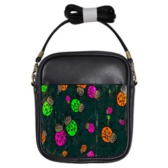 Cartoon Grunge Beetle Wallpaper Background Girls Sling Bags