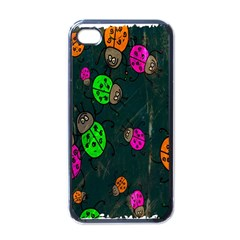 Cartoon Grunge Beetle Wallpaper Background Apple iPhone 4 Case (Black)