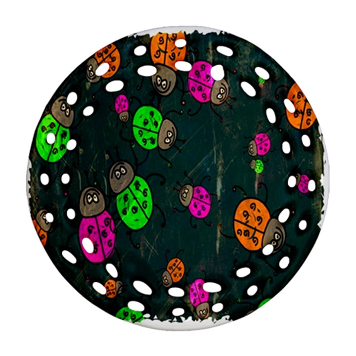 Cartoon Grunge Beetle Wallpaper Background Round Filigree Ornament (Two Sides)