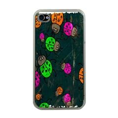 Cartoon Grunge Beetle Wallpaper Background Apple iPhone 4 Case (Clear)