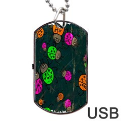 Cartoon Grunge Beetle Wallpaper Background Dog Tag USB Flash (Two Sides)