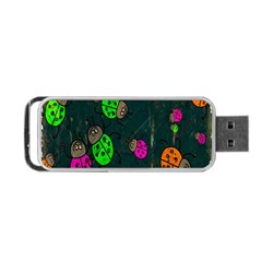 Cartoon Grunge Beetle Wallpaper Background Portable USB Flash (One Side)