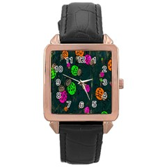 Cartoon Grunge Beetle Wallpaper Background Rose Gold Leather Watch
