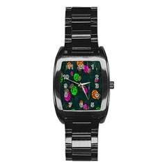 Cartoon Grunge Beetle Wallpaper Background Stainless Steel Barrel Watch