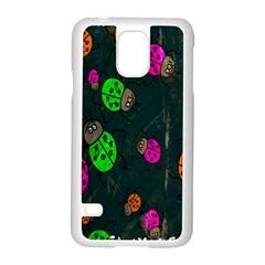 Cartoon Grunge Beetle Wallpaper Background Samsung Galaxy S5 Case (White)