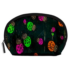 Cartoon Grunge Beetle Wallpaper Background Accessory Pouches (Large)