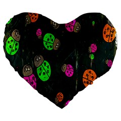 Cartoon Grunge Beetle Wallpaper Background Large 19  Premium Flano Heart Shape Cushions