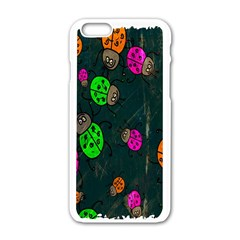 Cartoon Grunge Beetle Wallpaper Background Apple iPhone 6/6S White Enamel Case