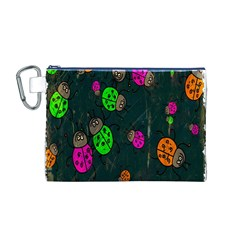 Cartoon Grunge Beetle Wallpaper Background Canvas Cosmetic Bag (M)