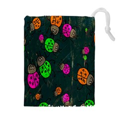 Cartoon Grunge Beetle Wallpaper Background Drawstring Pouches (Extra Large)