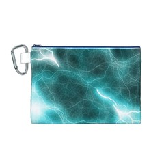 Light Web Colorful Web Of Crazy Lightening Canvas Cosmetic Bag (M)