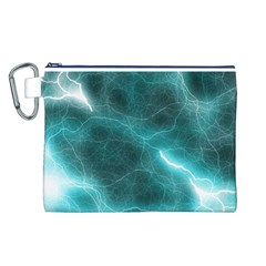 Light Web Colorful Web Of Crazy Lightening Canvas Cosmetic Bag (l)