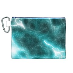 Light Web Colorful Web Of Crazy Lightening Canvas Cosmetic Bag (XL)