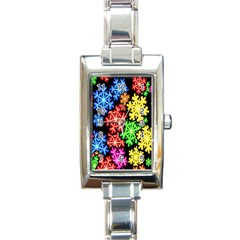 Colourful Snowflake Wallpaper Pattern Rectangle Italian Charm Watch