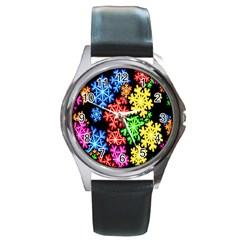 Colourful Snowflake Wallpaper Pattern Round Metal Watch
