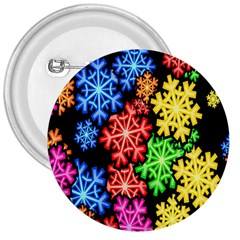 Colourful Snowflake Wallpaper Pattern 3  Buttons